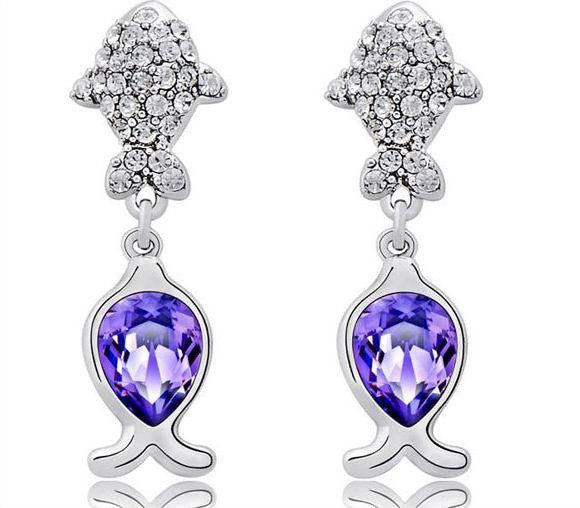 The cute shining little purple fishes earring - CDE Jewelry Egypt