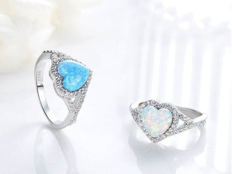Sterling silver cute opal hearts ring - CDE Jewelry Egypt