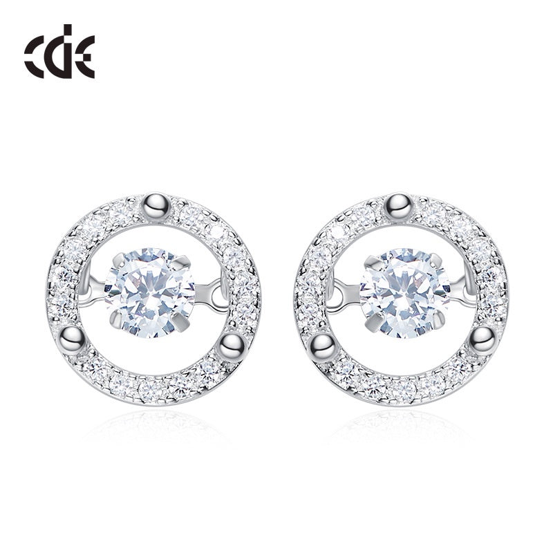 Sterling silver shiny circular dancing crystal earring - CDE Jewelry Egypt