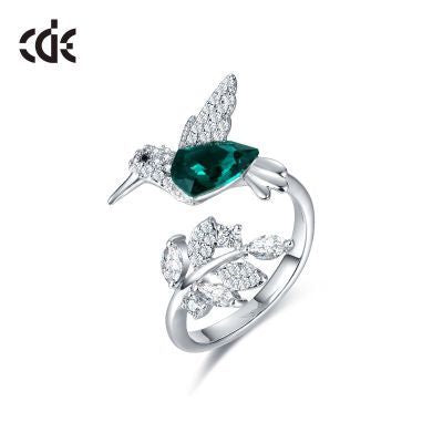 CDE 925 Sterling Silver Ring Hummingbird Swarovski Crystals Expandable Emerald Leaf Ring - CDE Jewelry Egypt