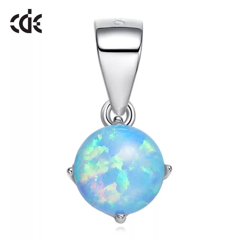 Sterling silver white opal stone necklace - CDE Jewelry Egypt