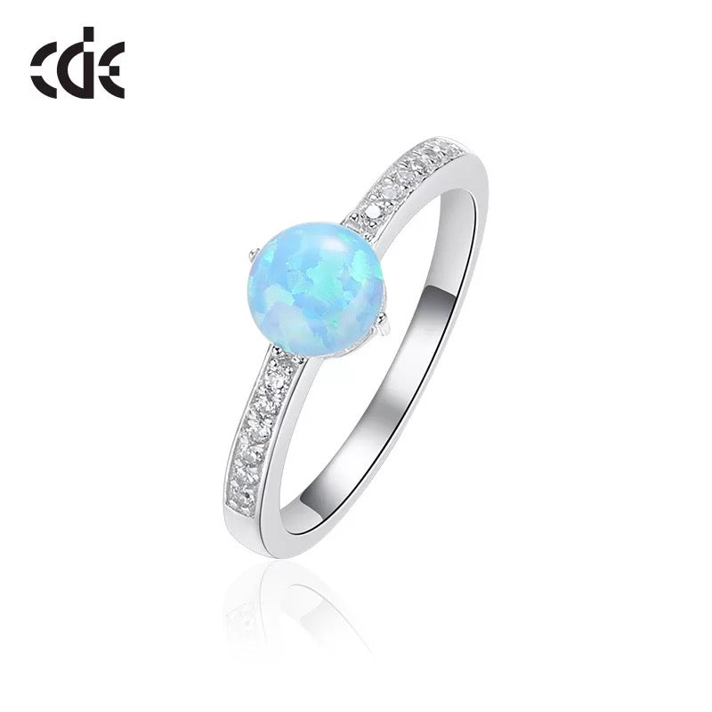 Sterling silver elegant blue opal with little crystals ring - CDE Jewelry Egypt