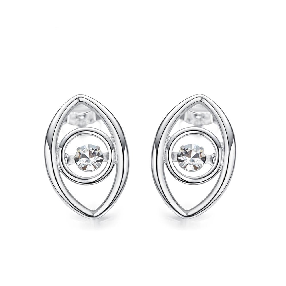 Sterling silver stylish eye with a dancing crystal earring - CDE Jewelry Egypt