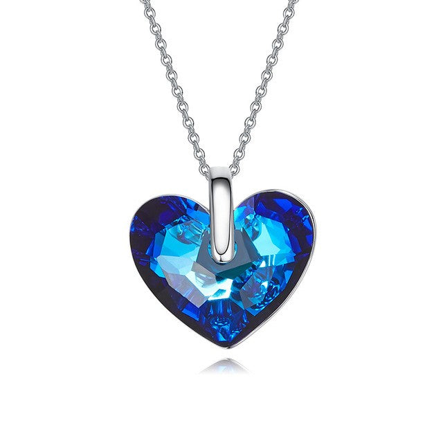 Crystals from Swarovski Women Pendants & Necklaces AB Color Blue Heart Shaped - CDE Jewelry Egypt