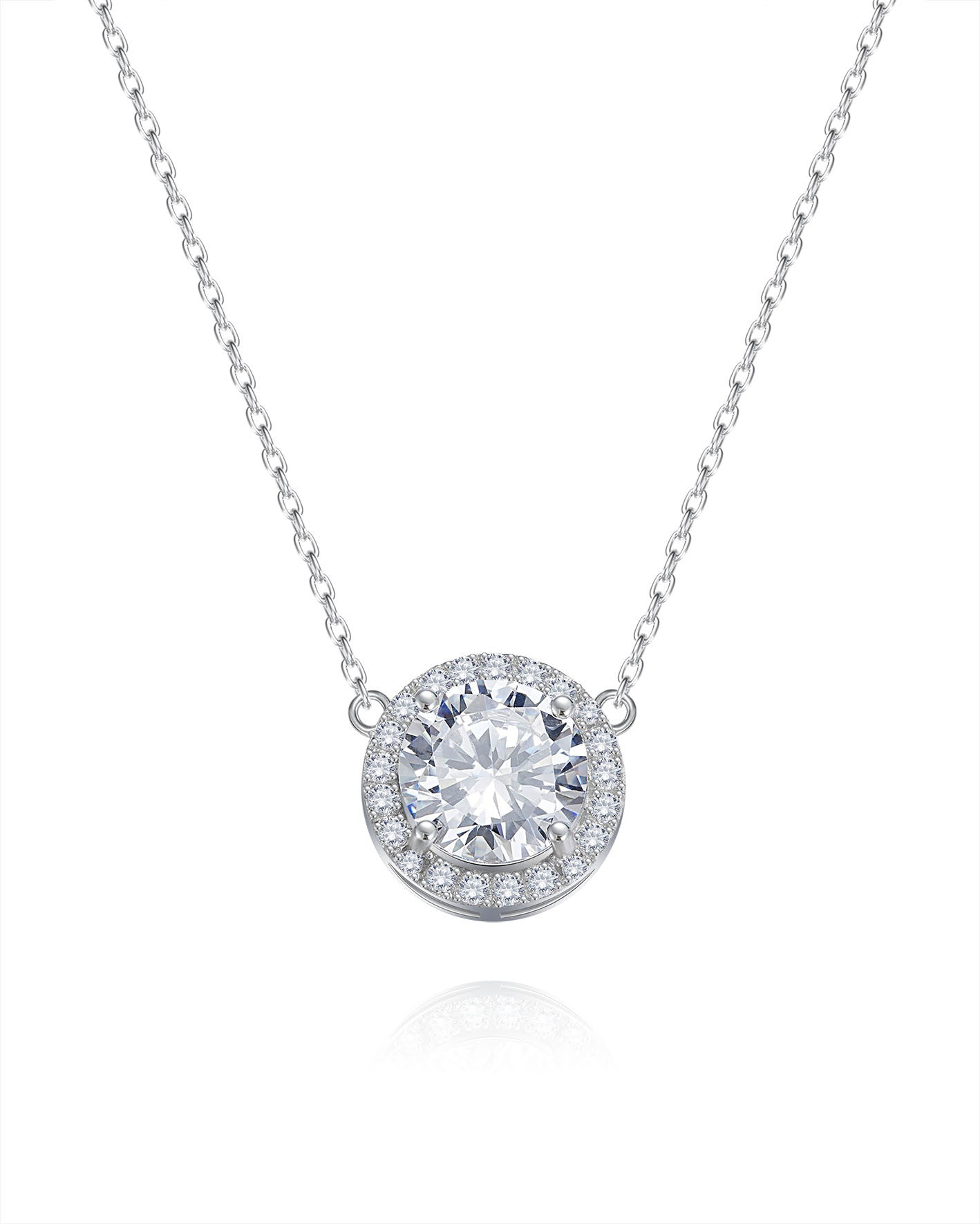 Sterling silver rounded zirconia necklace - CDE Jewelry Egypt