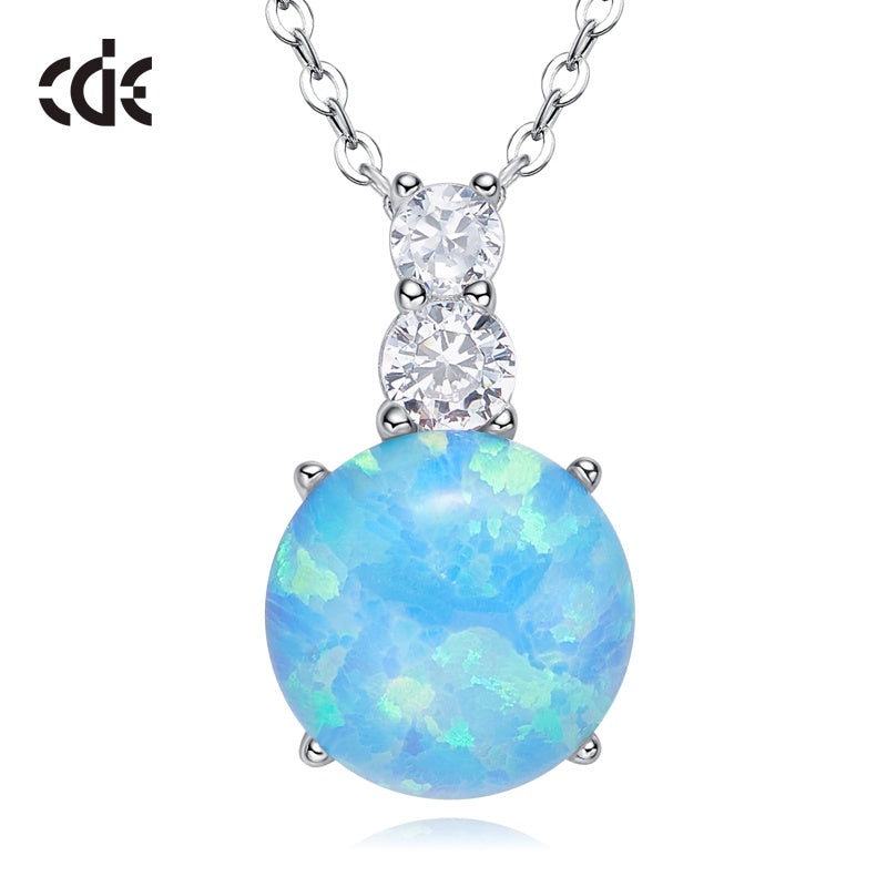 Sterling silver simple opal stone with a little crystal necklace - CDE Jewelry Egypt