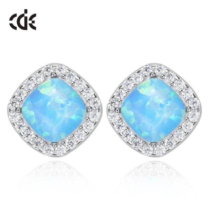 Sterling silver elegant blue / white opal with crystals earring - CDE Jewelry Egypt