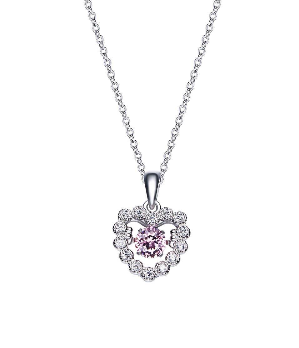 Sterling silver rose dancing crystal heart necklace - CDE Jewelry Egypt