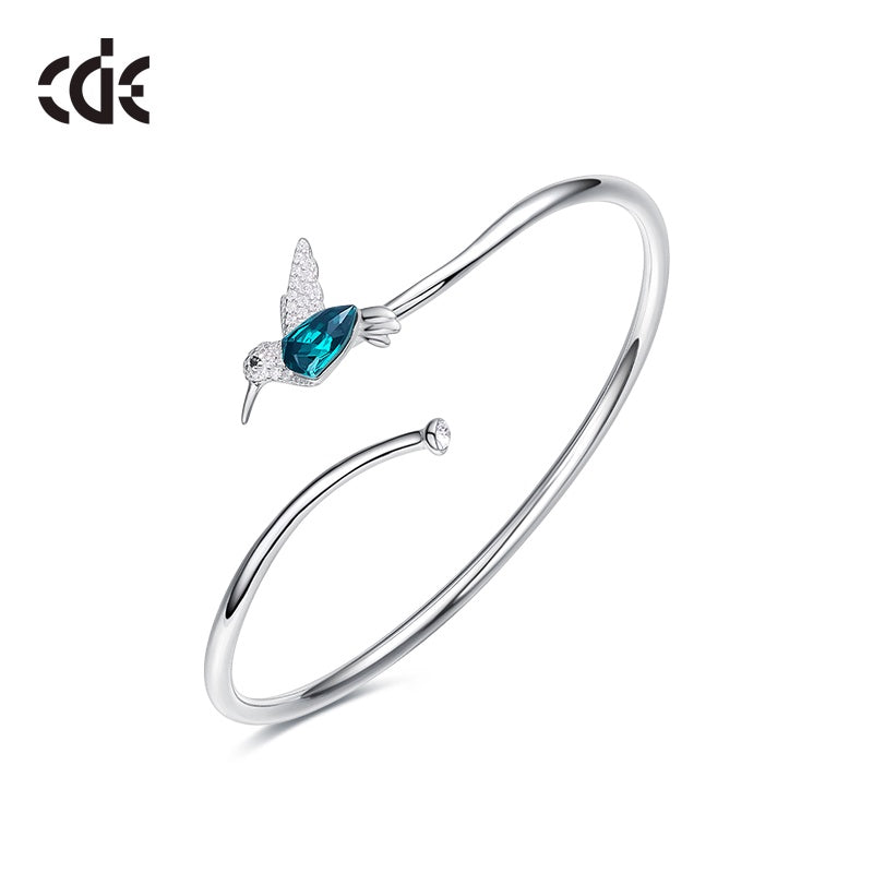 Sterling silver simple Emerald hummingbird bangle - CDE Jewelry Egypt