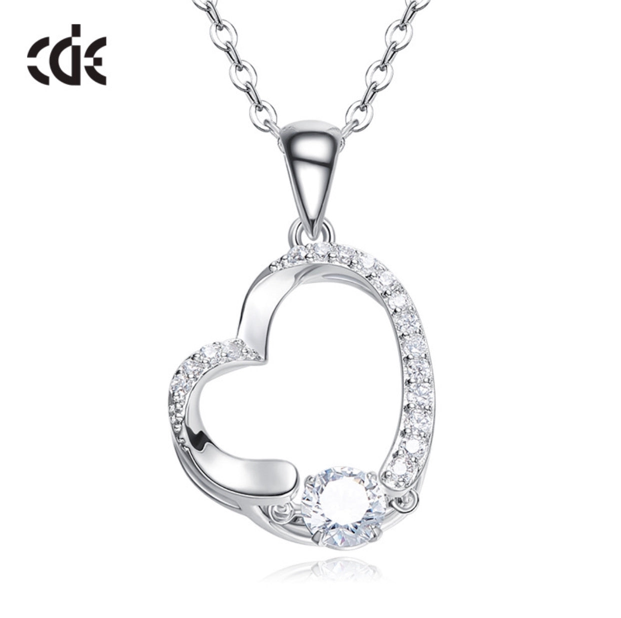 Sterling silver heart dancing crystal necklace - CDE Jewelry Egypt