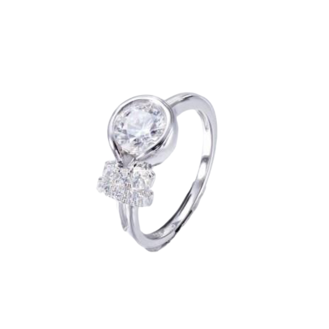 Sterling silver clear water floating ring - CDE Jewelry Egypt
