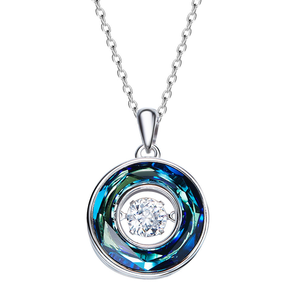 Sterling silver rounded sapphire dancing crystal necklace - CDE Jewelry Egypt