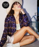 Vintage Beaded Party Jacket - Purple