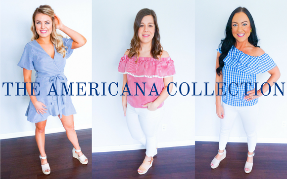 women's americana clothing, 4th of July clothing, Memorial weekend clothing, red, white and blue outfits, classic clothing, summer fashion
