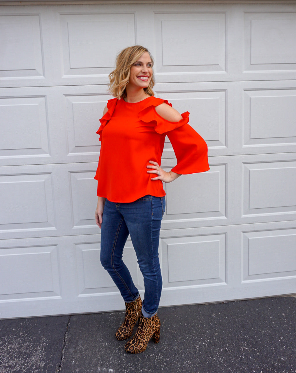red cold shoulder top, preppy clothing, spring outfit