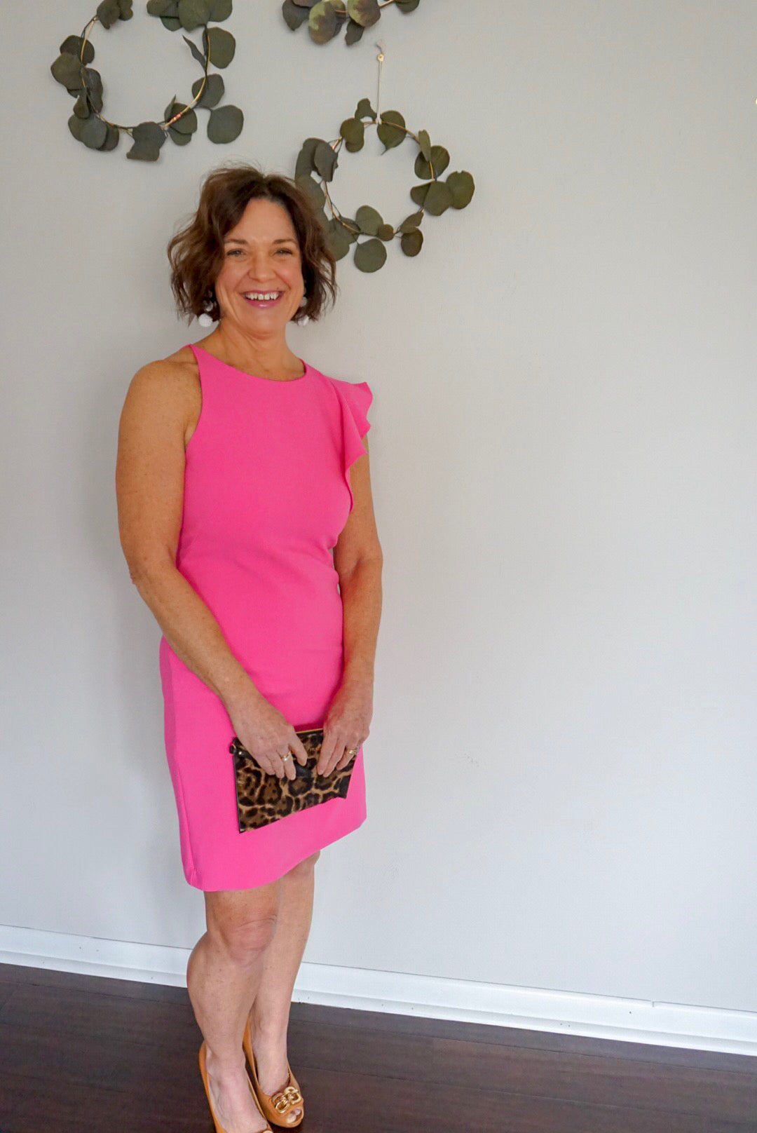 new clothing boutique, pink dress, blue jacket, preppy clothing
