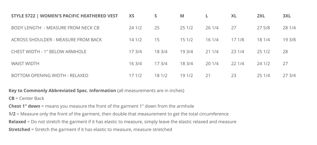 fleece vest size chart