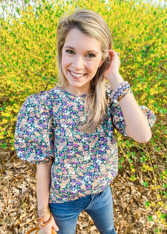Courtney Callicutt blogger, floral puff sleeve top, floral puff sleeve blouse