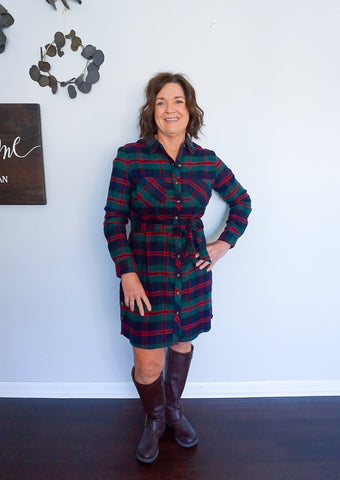 Stretch-Flex Flannel Plaid Dress