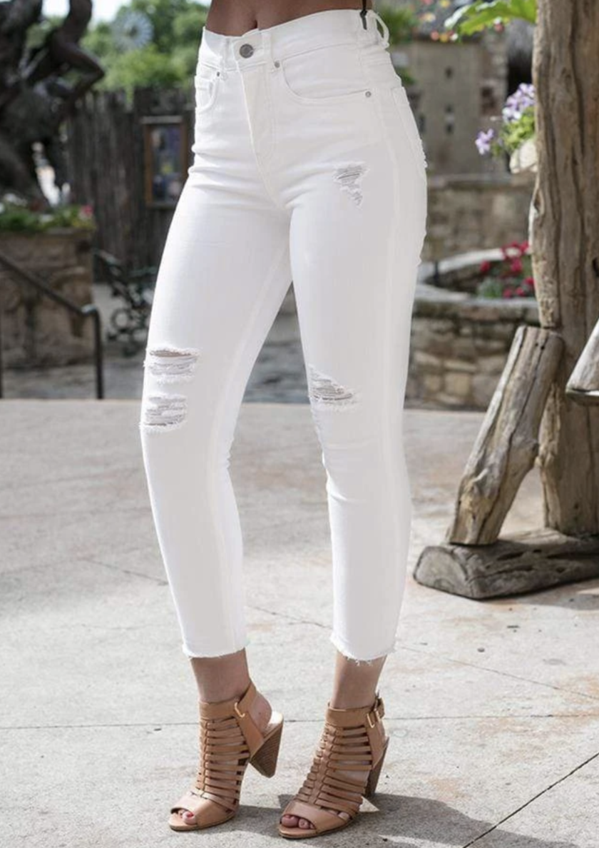distressed white jeans for women