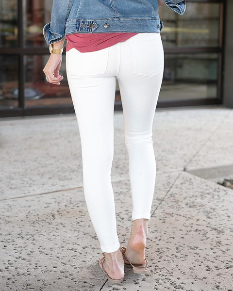 Grace & Lace White Distressed Ankle Length Jeggings
