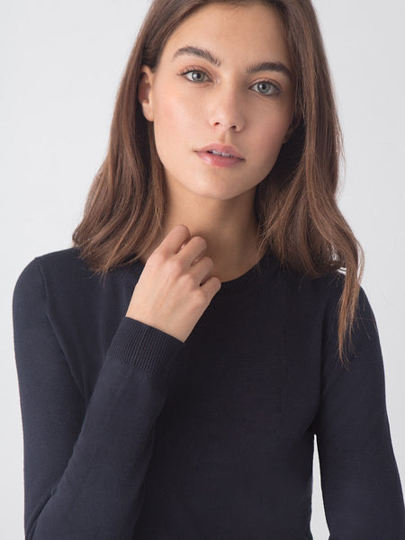 Anna Crewneck Sweater in Classic Navy