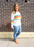 rainbow sweaters, striped women's sweaters, winter sweaters for women