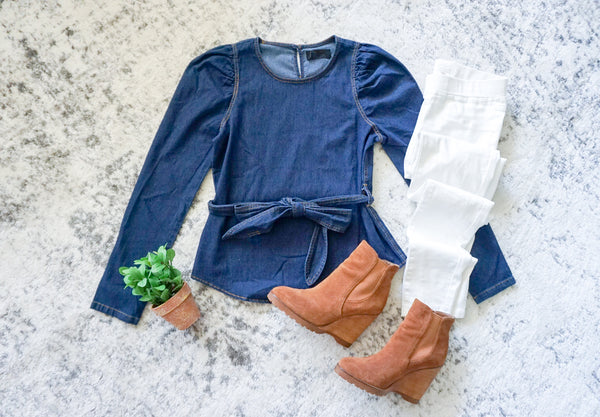 Denim top with bow, Fall fashion outfit inspiration, fall flat lay