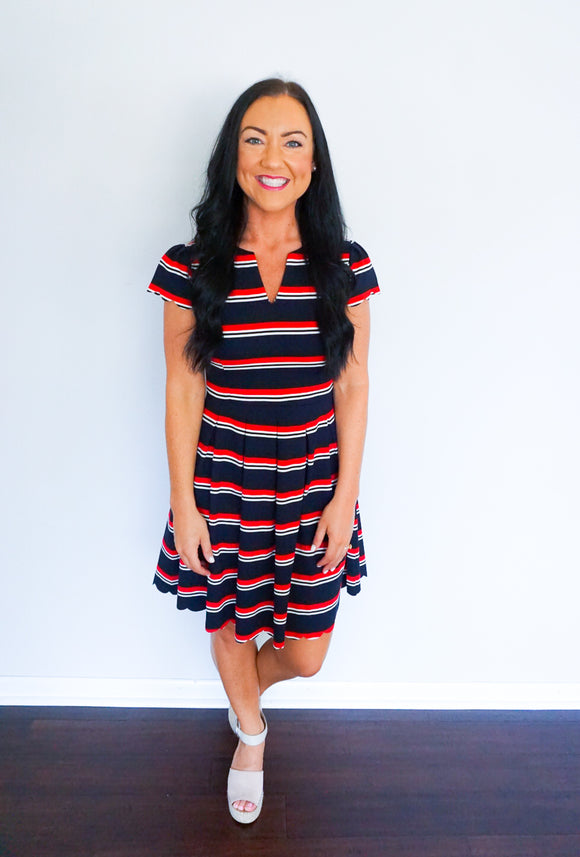 red white and blue dress, striped dresses for women, ponte knit dress, all for color dress
