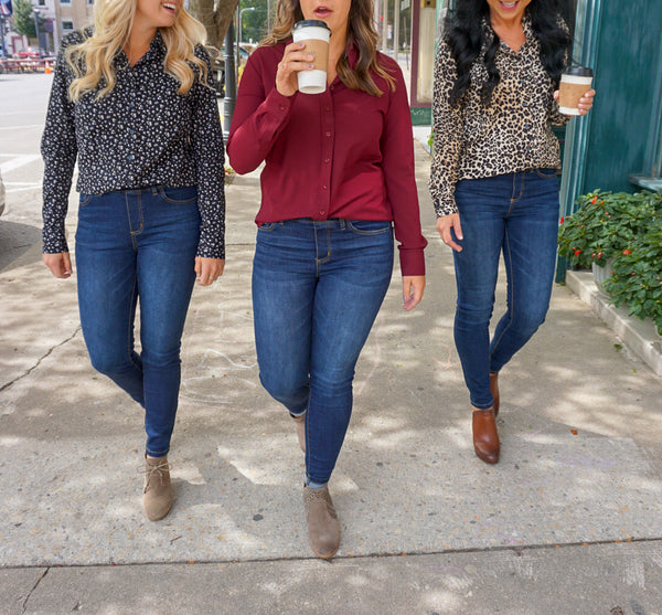 fall style for women, fall fashion 2018, meg & marie, women's boutique, leopard button down
