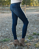 Dark wash distress denim leggings, Fall everyday jeggings