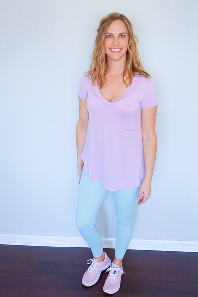 purple v-neck top, purple t-shirt, pastel women's clothing, spring loungewear