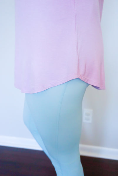 pastel workout clothing, pastel activewear, purple activewear, mint green leggings