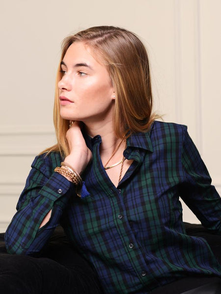 the shirt by rochelle behrens, plaid button down for women, plaid women's tops, holiday women's tops