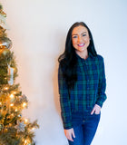 plaid shirts for women, plaid tops, blue and green plaid shirt