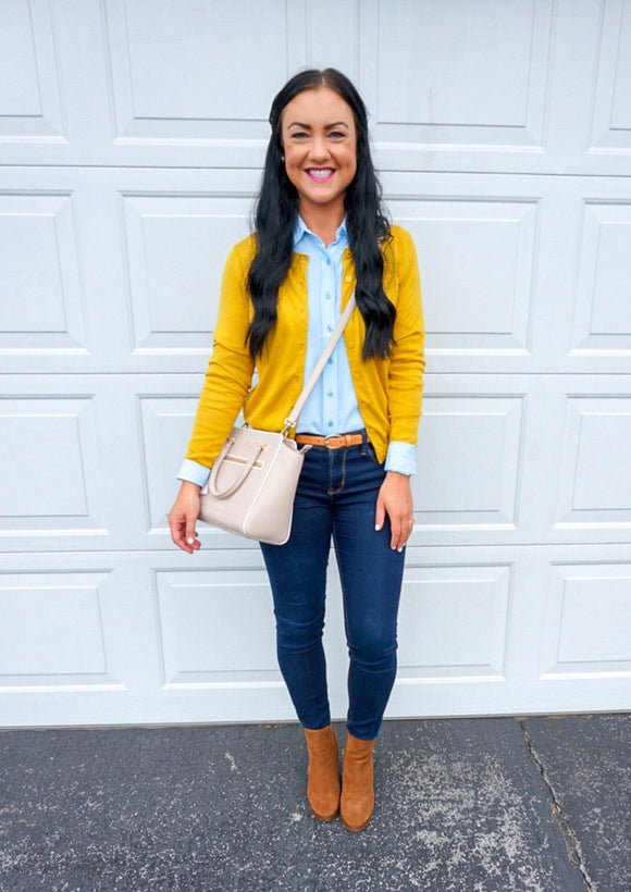 fall outfits for women, fall fashion 2018, fall blogger style, mustard cardigan
