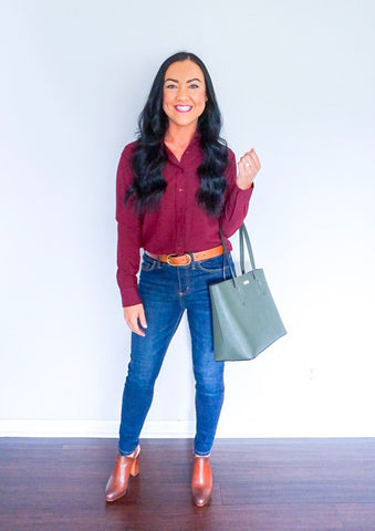 fall fashion trends, fall fashion 2018, burgundy button down top