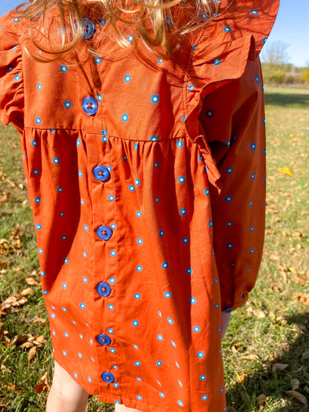 rufflebutts orange and blue dress