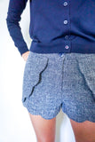 shorts for women, scalloped shorts, scallop shorts, woven women's shorts, women's fall shorts