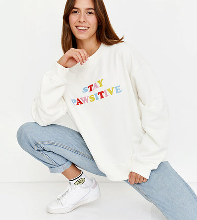 Pawsitive Sweatshirt Retro White