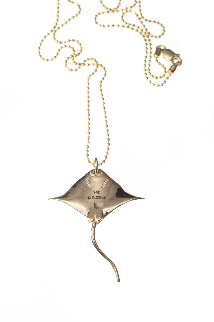DIAMOND STING RAY CHARM NECKLACE