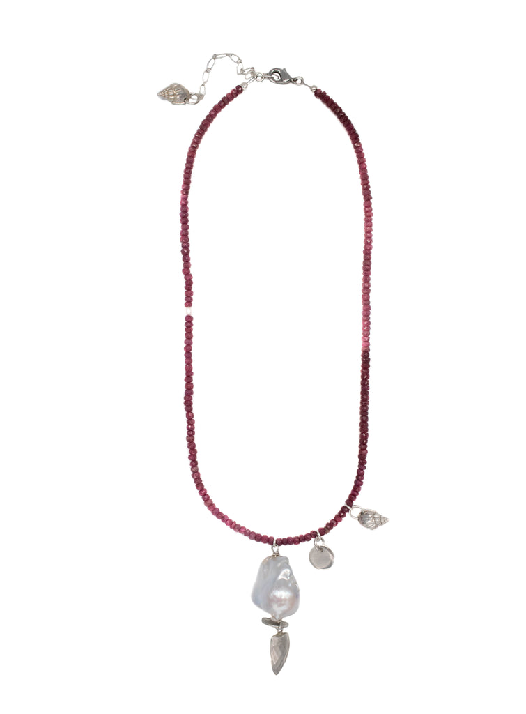 RUBY AND BAROQUE PEARL NECKLACE