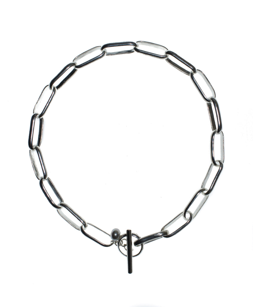 Chain Link Pearl Necklace