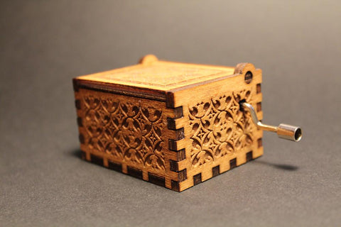 Engraved wooden music box Edelweiss