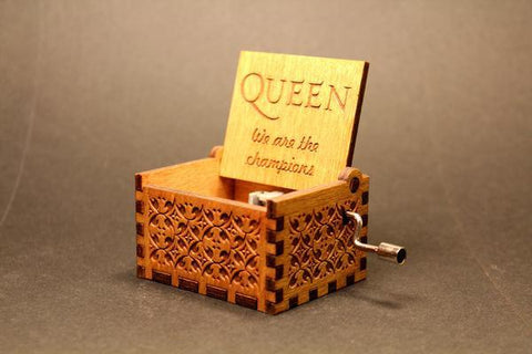 Image of Engraved Wooden Music Box Queen - We Are The Champions