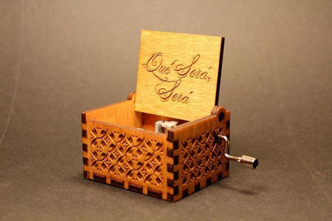 Image of Engraved Wooden Music Box Que Sera Sera