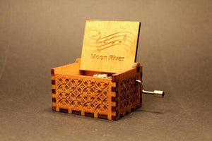 Engraved Wooden Music Box Moon River
