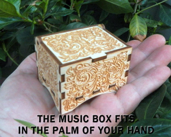 "Personalizable Music Box, ""Hedwig's Theme"", Laser Engraved Birch Wood (Ornate Standard)"