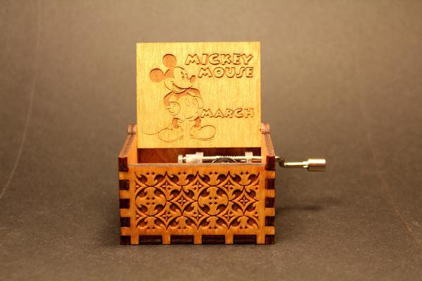 Engraved Wooden Music Box Mickey Mouse March