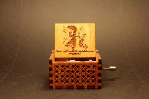 Image of Engraved Wooden Music Box Mary Poppins